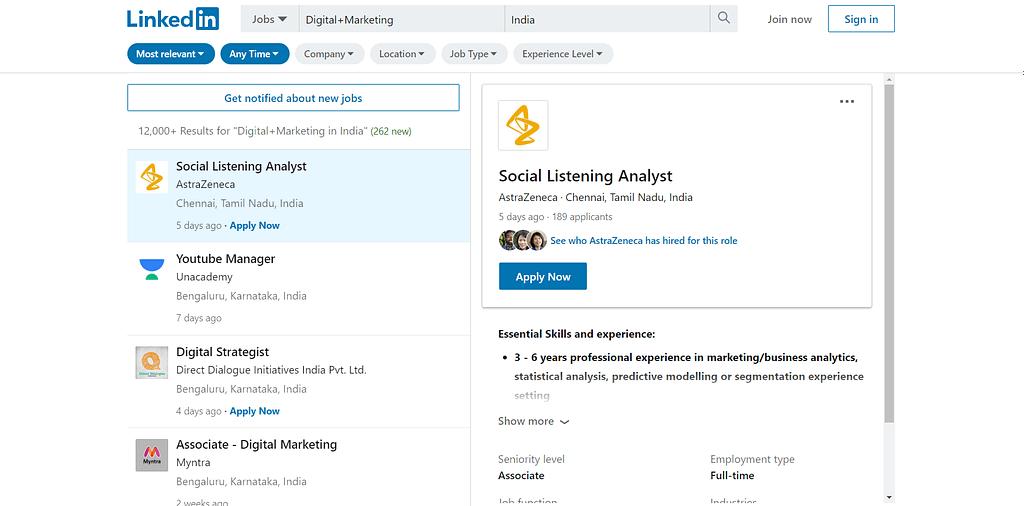 Digital Marketing Vacancies in India